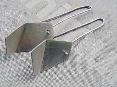 Earrings Origami mismatched hook earrings in brushed or blacked sterling - by dikua