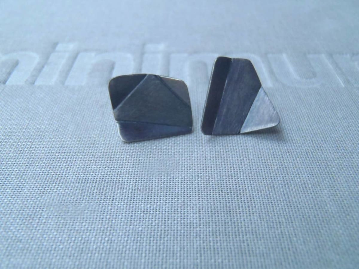 Earrings Origami mismatched stud earrings in brushed or blacked sterling! - by dikua