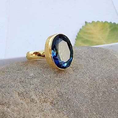 Oval Cab Blue Iolite Gemstone 925 silver Ring Sterling Silver 22K Yellow Gold Filled Rose