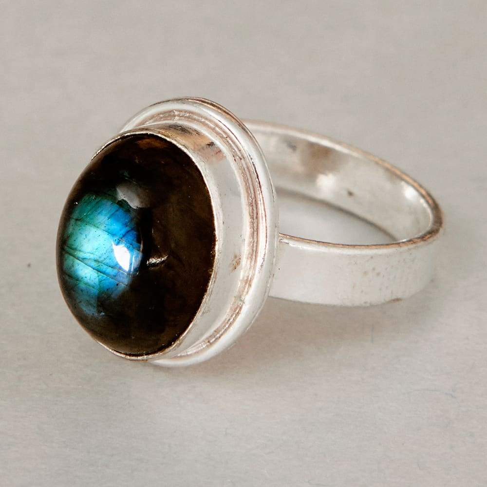 Labradorite stone 925 Sterling Silver Band Ring Handmade Jewelry All Size L-10