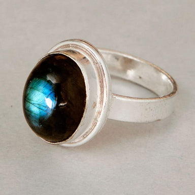 Rings Oval Cab Blue Labradorite Gemstone 925 Sterling Silver Ring Fashion Handmade Jewelry Gift - by NativeFineJewelry