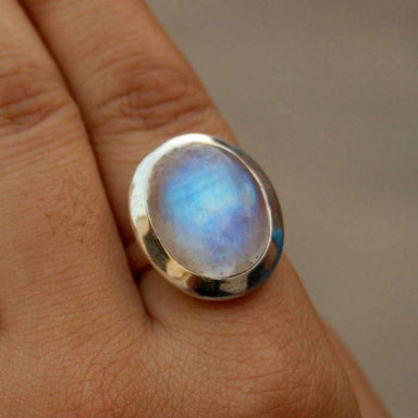 Oval Cab Blue Rainbow Moonstone Gemstone 925 Sterling silver Ring 22K Yellow Gold Filled Rose