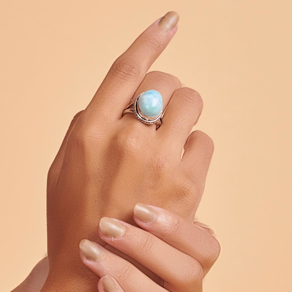 Rings Oval Cab Dominican Larimar 925 Sterling Silver 18K Yellow Gold Rose Filled Ring Handmade in India Gift Jewelry Gemstone ring - by
