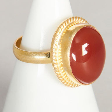 Rings Oval Cab Orange Carnelian Gemstone 925 Sterling Silver 18K Yellow Gold Filled Rose Ring Handmade in India Gift Jewelry - by Subham