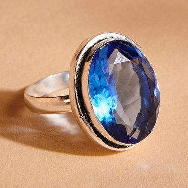 Rings Oval Cut Blue Tanzanite Quartz Gemstone 925 Sterling Silver Ring Handmade in India Gift Jewelry - by Subham Jewels