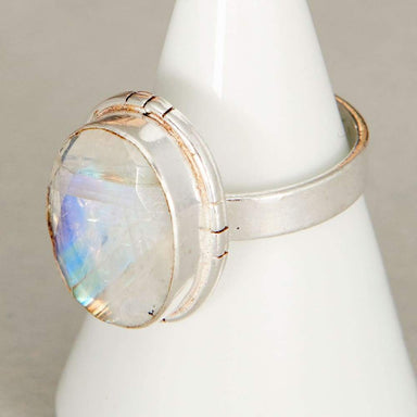 Rings Oval Faceted Blue Rainbow Moonstone Gemstone 925 Sterling Silver Ring Fashion Handmade Jewelry Gift - by NativeFineJewelry
