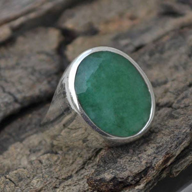 Rings Oval Faceted Emerald Ring May Birthstone Gift 925 Sterling Silver Men's