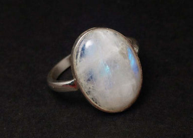 Oval Moonstone Ring 925 Silver Statement Birthstone Dainty Everyday Simple Yoga Gift