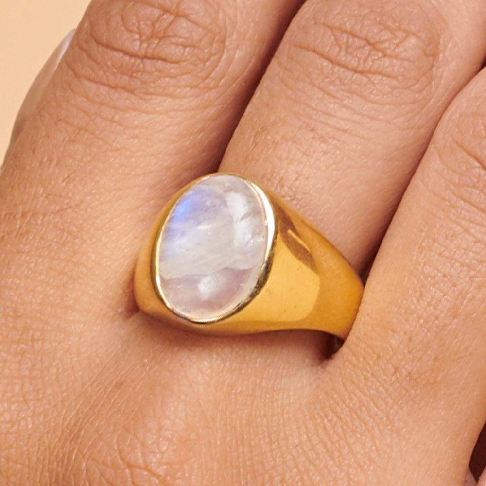 Rings Oval Rainbow Moonstone 925 Sterling Silver 18K Yellow Gold Rose Filled Ring Handmade in India Gift Jewelry Gemstone ring - by Subham