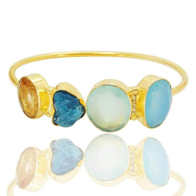Oval Shape Aqua Chalcedony Citrine And Apatite Multi Color Stone Open Bangle