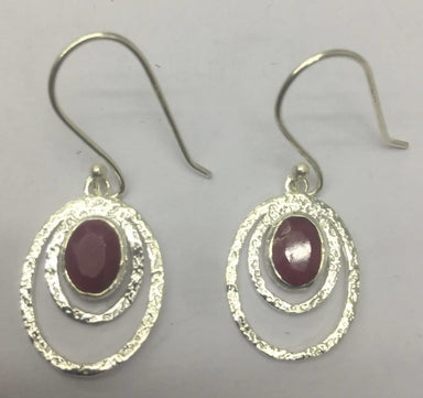 Earrings Oval Shape Frosted Work Ruby Corundum Earring Sterling Silver - by TJ GEMS