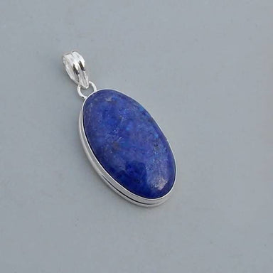 Pendants Oval Shape Natural Lapis Lazuli Gemstone 925 Sterling Silver Pendant Handmade Artisan Jewelry - Title by Subham Jewels