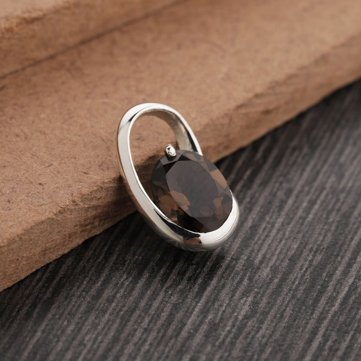 Pendants Oval Smoky Quartz Pendant in 925 Sterling Silver Friendship Gift Valentines Day Anniversary - by UniqueSilverZone