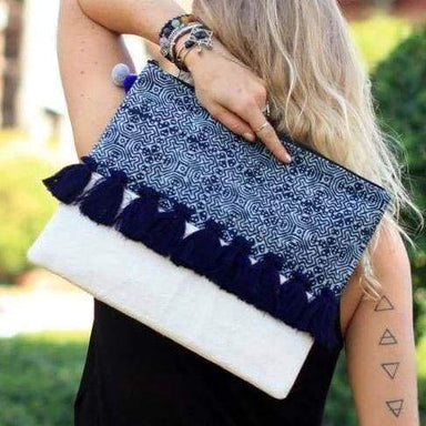 Clutches Oversized Blue Clutch in Batik with Tassels