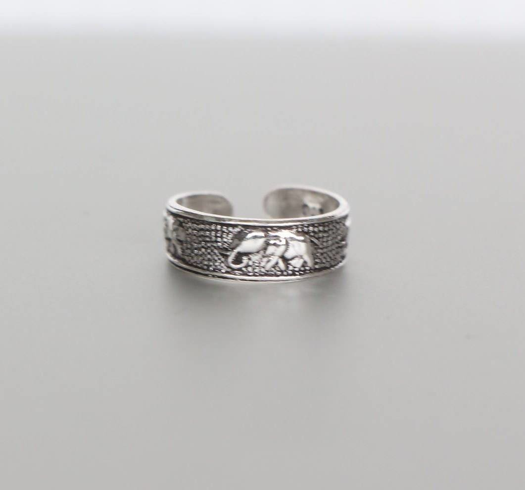 Rings Oxidized Silver Elephant Toe Ring Sterling Simple Gift For Her Minimal Band (TS79)