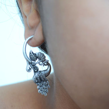earrings Oxidized Silver Indian Peacock Earrings jaipur jewelry german silver traditional hoop - by Pretty Ponytails