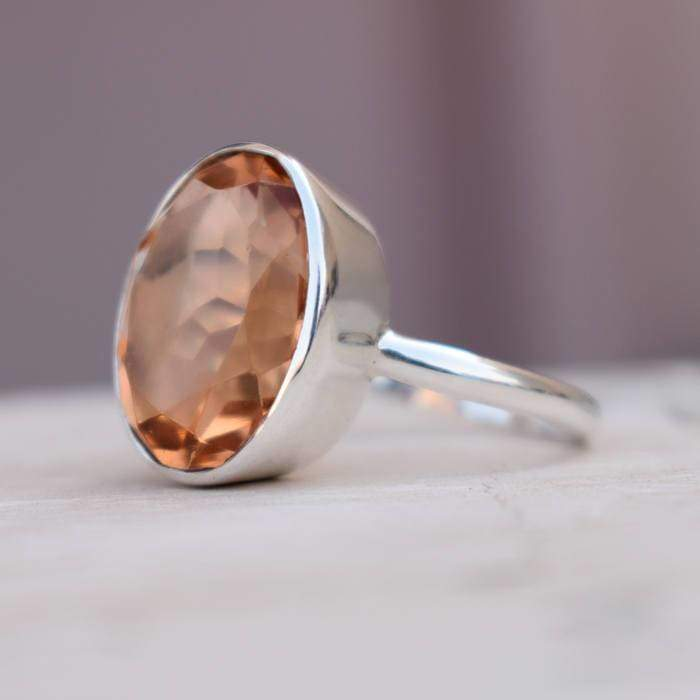 Peach Morganite Quartz Gemstone 925 Sterling Silver Ring 22K Yellow Gold Filled Rose