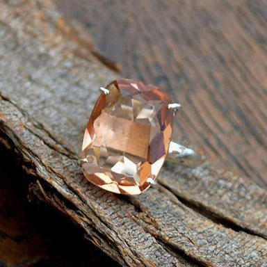 rings PEACH Morganite Ring 925 Sterling Silver Quartz Designer Statement Prong Set Yellow Gold Jewelry Handmade Nickel Free - by