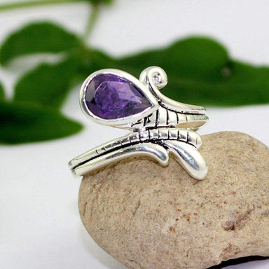 Rings pear amethyst ring silver jewelry designer