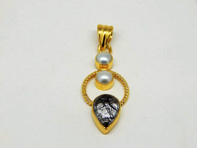 Necklaces Pearl Black Rutile Sterling Silver Gold Plated Pendant
