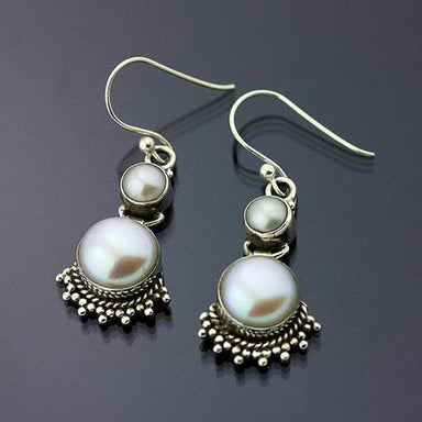 Pearl Earrings 925 Sterling Silver Earring Fresh Water Gemstone Women Handmade Boho - by GIRIVAR CREATIONS