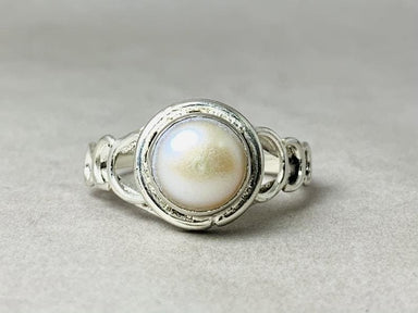 rings Pearl Ring 925 Sterling Silver Freshwater White June Birthstone Minimalist Boho Round - by Heaven Jewelry