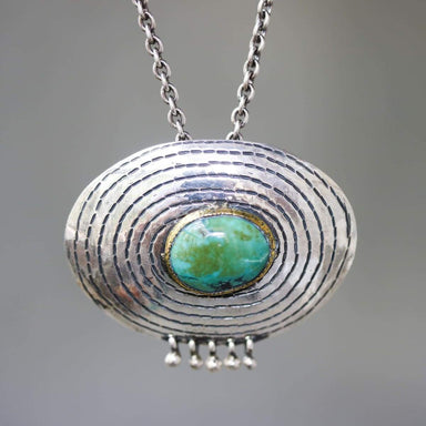 Turquoise pendant necklace in brass bezel setting silver engraving oval shape and beads on sterling oxidized chain - by Metal Studio Jewelry