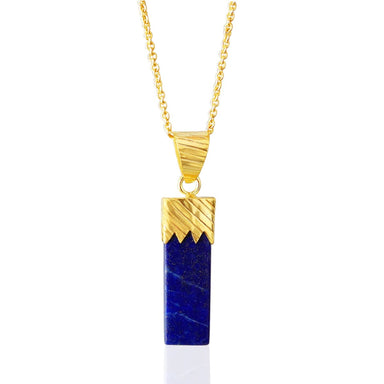 Perfect Design Blue Lapis Lazuli Gemstone Chain Necklace - by Bhagat Jewels
