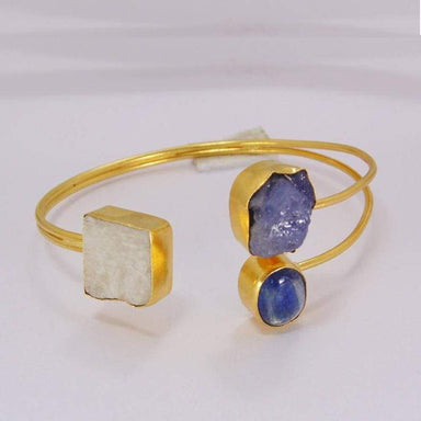 Perfectly Design Rainbow Moonstone Tanzanite And Kyanite Gemstone Bridal Cuff Bracelet