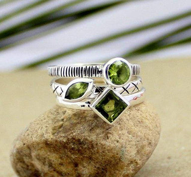Rings peridot stacking ring stackable three stone