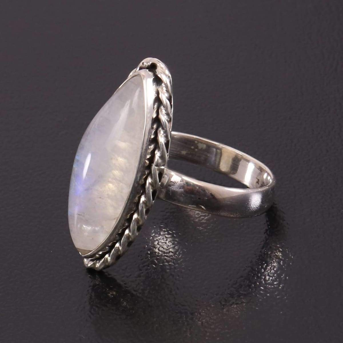 Rings Personalized June Birthstone Ring Blue Shine Moonstone Natural AAA+ Rainbow Marquise Shape Sterling Silver