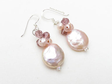 Earrings Pink freshwater pearl earings flat round (Coin Shape) with purple crystal on silk thread sterling silver ear wires light