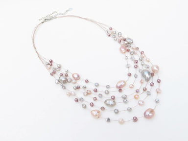 Necklaces Pink gray freshwater pearl necklace with crystal purple glass on silk thread silver multi strands