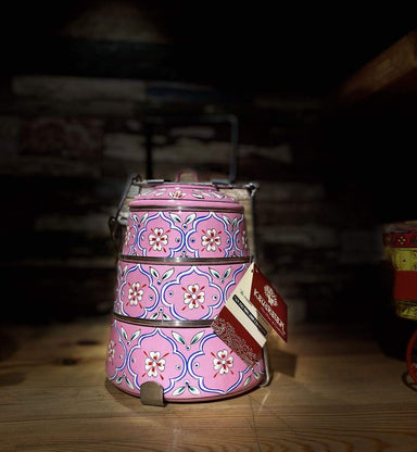 kitchen & dining Hand Painted 3 Tier Steel Lunch Box- Indian-style tiffin carrier Bombay Dabba - by Mrinalika Jain