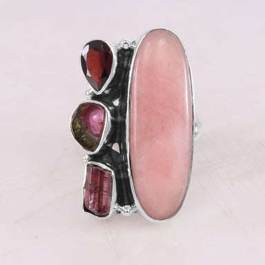 Pink Opal Garnet Tourmaline 925 Sterling Silver Ring Handmade Multi Stone Raw Gemstone October Birthstone - by Rajtarang