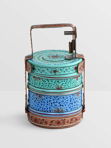 kitchen & dining Hand Painted 2 Tier Steel Lunch Box- A dabba or Indian-style tiffin carrier Bombay Dabba - by Mrinalika Jain