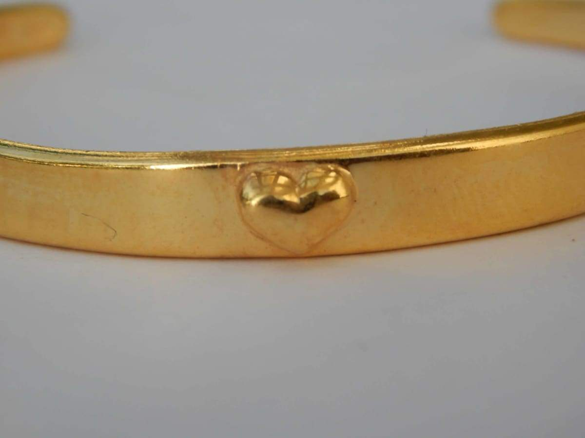 Bracelets Plain silver Bangle with Gold Plated written Heart of