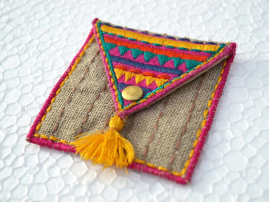 Pouches Pocket sqaure coin bag wire holder handmade gift bohemian moroccan size 3X3 inches - by VLiving