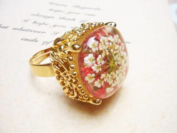 Rings Pressed Flower Woodland Ring - Title by StylishNature