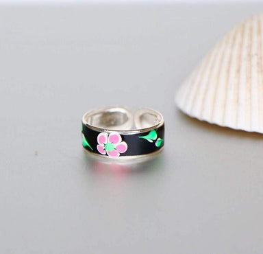 Rings Printed Toe Ring Black Silver Flower Print Bohochic,Feet jewelry For Her Simple,(TS40B)