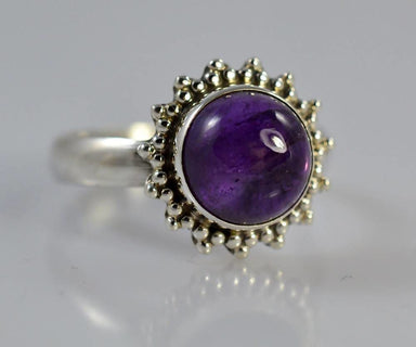 Rings Pure 92.5 Solid Sterling Silver Ring Studded with Genuine Amethyst Round Custom US Sizes Available 4 to 13