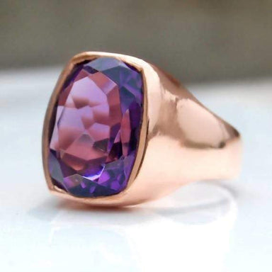 Purple Amethyst Cushion Cut Silver Ring - Rings
