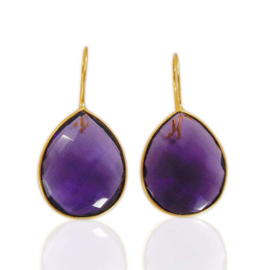 Purple Amethyst Gemstone Bezel Set Teardrop Earrings In 18K Gold Plated