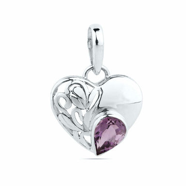 Purple Amethyst Pendant~ 925 Sterling Solid Silver ~7mm x 5mm Pear Cut~Genuine Natural Heart Pendant Necklace