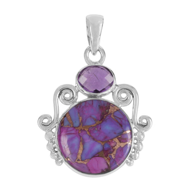 Pendants Purple copper Turquoise Pendant Amethyst 925 Sterling Silver Handmade 25X40mm For Women's - by Rajtarang