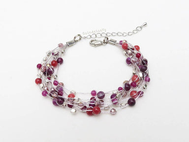Bracelets Purple pink stone bracelet with crystal silver plated beads on silk thread multi strands