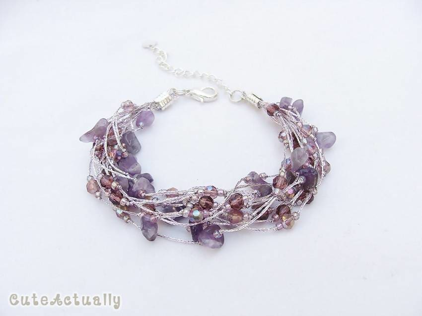 Bracelets Purple stone bracelet on silk thread Amethyst crystal glass beads multistrands - by CuteActually