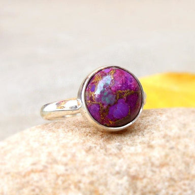Rings Purple Turquoise 925 Silver Ring Copper cabochon Gemstone Boho