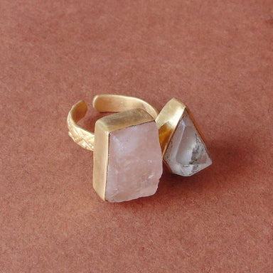 Top Quality Healing Crystal Quartz And Rose Gemstone Designer Ring - by Bhagat Jewels