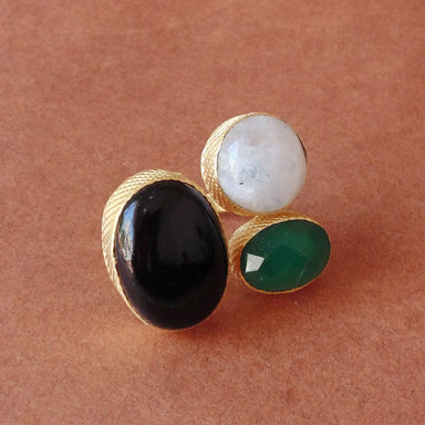 Best Quality Oval Shape Black Onyx And Green Birthstone Designer Ring - by Bhagat Jewels